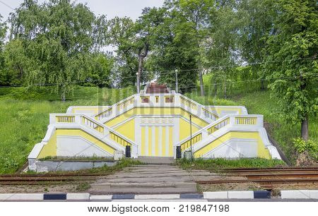 Theatrical (or Teatralnaya) staircase is considered a small copy of the Chkalovskaya staircase (or Chkalov ladder). Nizhny Novgorod Russia.