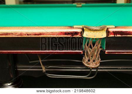 An empty pocket on an old billiard table