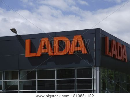 BereznikiRussia-July 10 : sign Official dealership of Lada. Lada is a Russian automobile manufacturer