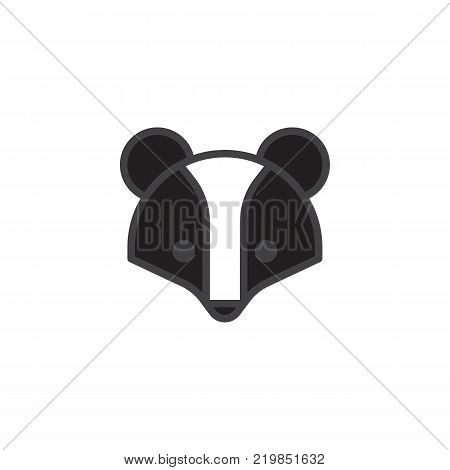 Badger head filled outline icon, line vector sign, linear colorful pictogram isolated on white. Brock face symbol, logo illustration. Pixel perfect vector graphics