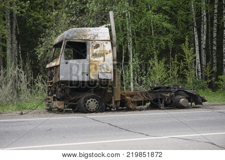 the truck after a fire on the road