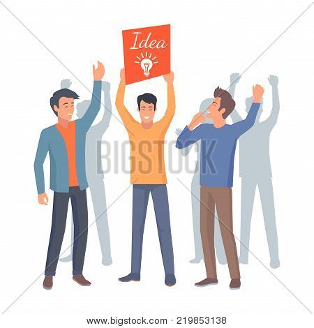 Three co workers raise banner with lamp up as symbol of new idea on white background. Cooperation in teamwork vector illustration