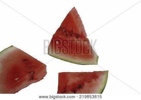 Watermelon isolated on white in the petals background
