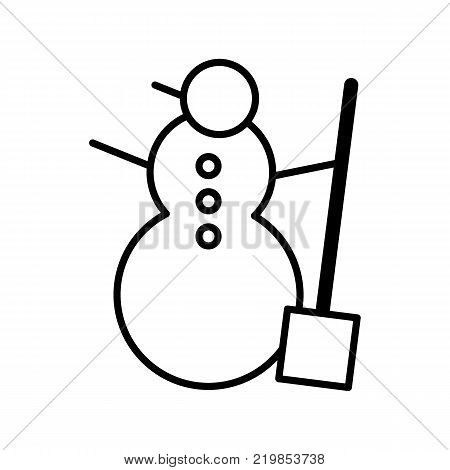 Snowman vector icon isolated on white. Snowman illustration flat design. Outline icon