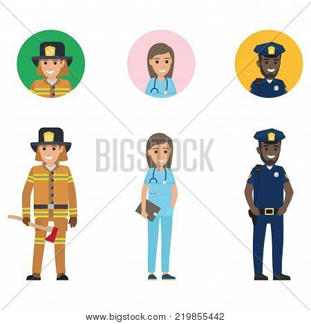 Firefighter in protective suit with long ax, medical adviser with tablet, police officer with walkie-talkie vector illustration