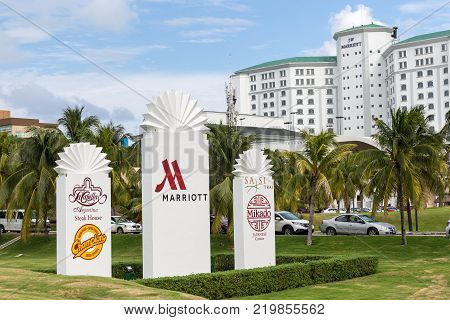 Cancun, Mexico - 12 January 2015: JW Marriott Cancun Resort and Spa sign at the entrance