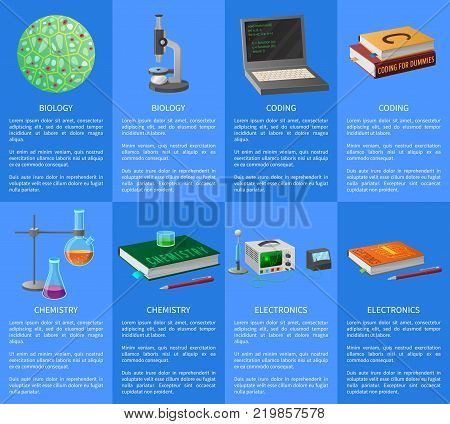 Program coding, maths and electronics lessons, economics class, biology and chemistry courses, geography lectures vector illustrations.