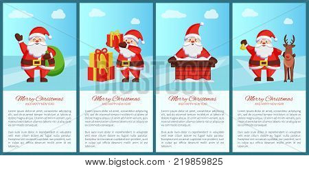 Merry Xmas and Happy New Year poster Santa Claus and presents, deer animal, chimney pipe, green sack bag, daily activities of winter character