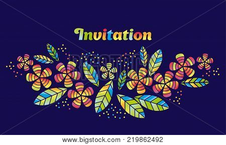 Tropical flowers and leaves simple and decorative vector element for surface design, invitation, header. Summer colorful cute style floral illustration on night background