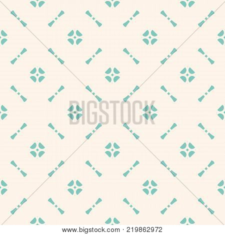 Vintage floral seamless pattern. Abstract geometric ornament background in pastel colors, turquoise and beige. Vector texture with small flower shapes, repeat tiles. Design for decor, fabric, textile. Vintage turquoise pattern. Vintage background.