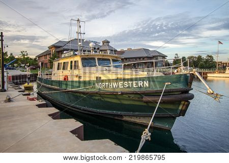 Traverse City, Michigan, USA - October 2, 2017: The Northwestern boat docked at the harbor for the Great Lakes Maritime Academy. The Academy is on the campus of Northwestern Michigan University in Traverse City.