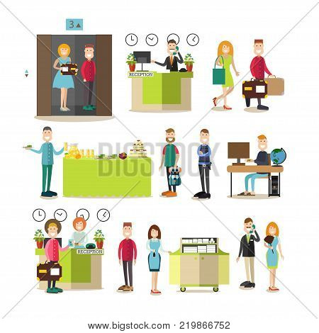 Vector illustration of hotel workers receptionist, chambermaid, housemaid, porter, doorman, security guard and guests. Hotel people people flat symbols, icons isolated on white background.