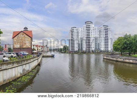Kaliningrad, Russia - July 27, 2017: Fishing Village - ethnographic and trading-craft center in Kaliningrad. Quarter built houses in the German style.