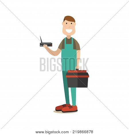 Vector illustration of worker holding tool box in one hand and wifi router in the other. Wireless connection concept. Internet people flat style design element, icon isolated on white background.