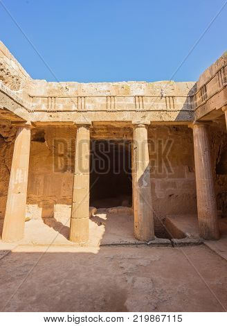 An ancient burial chamber at the 'Tomb of the Kings' necropolis in Paphos, Cyprus.