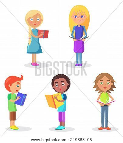 Five schoolchildren stands and holds color schoolbooks flat and shadow theme vector illustration on white background closeup