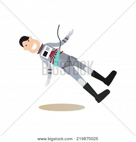Astronaut training concept vector illustration. Astronaut practicing extravehicular activities or space walks. Space people flat style design element, icon isolated on white background.