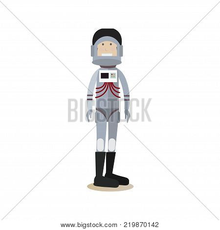 Vector illustration of astronaut in space suit and helmet. Space people flat style design element, icon isolated on white background.