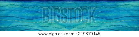 Photo of a beautiful seascape painting on textile using fabric paints in blue and turquoise. Painting stitched using threads and ribbons with a zigzag stitch to create a wave shape banner. With space for text.