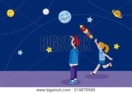 Boy and Girl looking at the night sky full of planets and stars. The girl is throwing a rocket. Vector illustration in a flat minimal style.