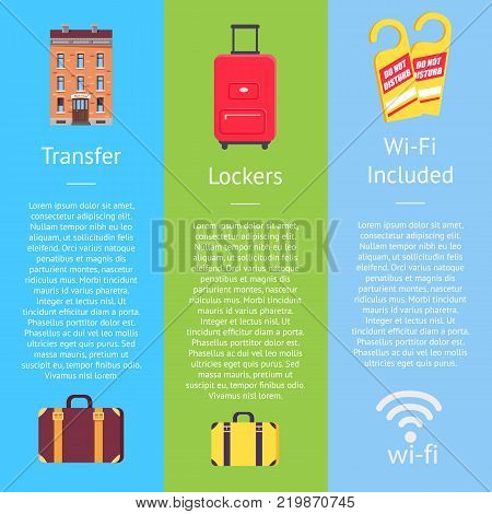 Transfer service, lockers on bags, wi-fi set of hotel posters. Vector illustration of brick building, classic and roller suitcases, wifi sign and door knob hangers