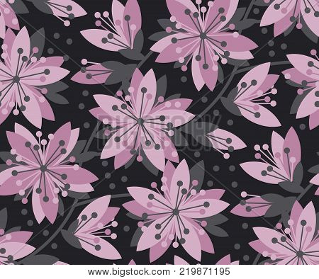 Concept abstract floral seamless pattern. Black and violet flower motif for surface design, fabric. Spring sakura cherry blossom background.