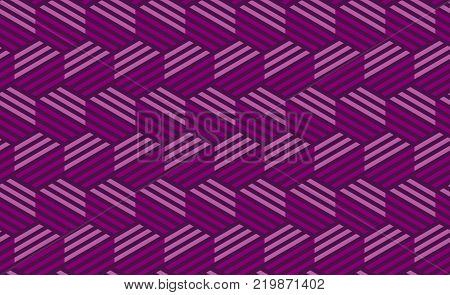 Concept purple seamless geometry pattern with line and hexagon. Seamless geometric motif for header, poster, background, fabric.