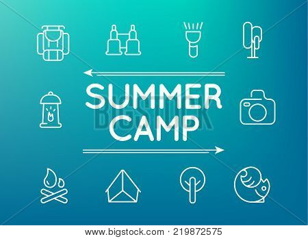 Summer camp icon set with ten objects such as binocular, compass, tent, camera hand drawing vector illustration
