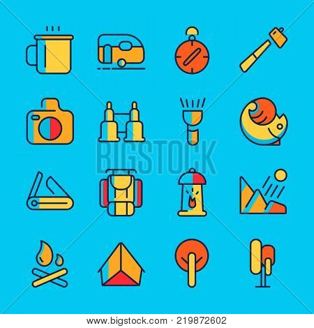 Camping and adventure line icon set with sixteen colourfull objects such as binocular, compass, tent hand drawing vector illustration