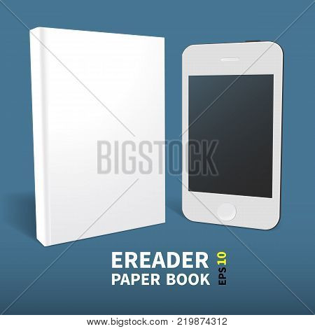 A template of two books with an empty cover. Paper and electronic. Stand on the surface close. In perspective. A realistic image. On a blue background. Isolated object for design Vector illustration.