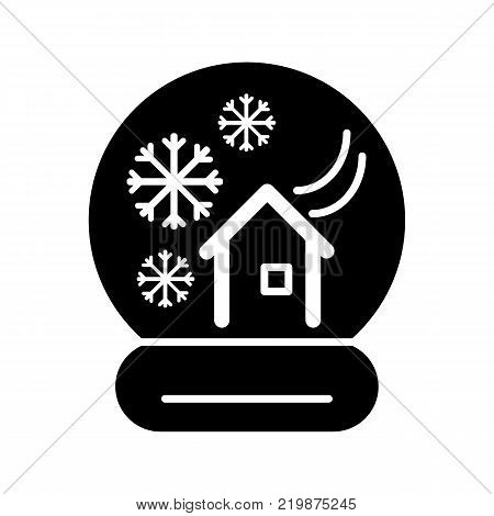 New Year's ball with a house and snow. Vector icon. Linear magic ball isolated. Solid snow globe on white background