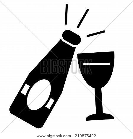 champagne bottle with glass line icon on white background new year symbol solid icon