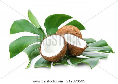 Ripe coconuts with leaf on white background