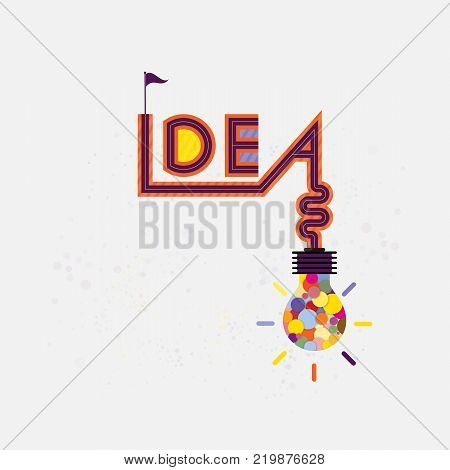 Colorful light bulb icon and Creativity idea sign.Modern typography design.Creative design for wall graphics typographic poster advertisement web design and office space graphics.Vector illustration