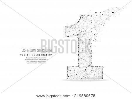 Number one 1 symbol. Triangular polygonal wireframe art with dots and crumbling edge. Isolated on white background. Concept illustration of success, win, leader, best or other.