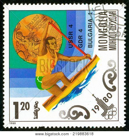 Ukraine - circa 2017: A postage stamp printed in Mongolia shows drawing Kayak. Series: Olympic gold medalists in 1980 Moscow. Circa 1980.
