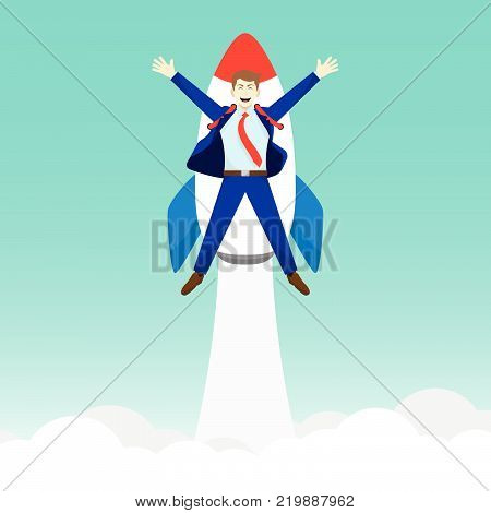 Business Concept As A Happy Businessman Is Attached To A Rocket Launching Into The Sky. It Means Starting Up Introducing Initiating A New Opportunity With Full Of Motivation Pride Encouragement.