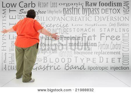 Oprimido obesa mulher olhar lista de peso perdido escolhas