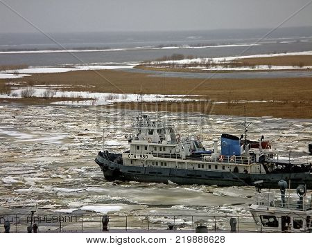 Salekhard, Russia - February 27, 2007: The commencement of navigation in the northern river of the Ob. Passenger ship.