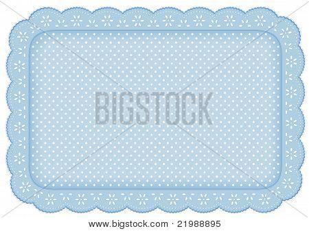 Polka Dot Lace Place Mat, Pastel Blue Background