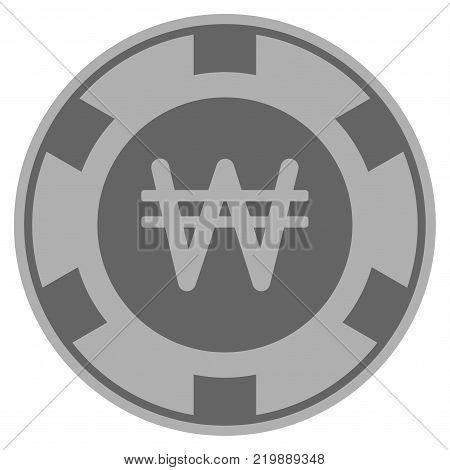 Korean Won gray casino chip icon. Vector style is a gray silver flat gambling token item.
