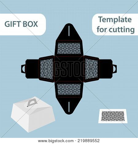Openwork gift paper box with a handle lace pattern assembly without glue cut out template packaging for retail greeting packaging laser cutting template presents packing vector illustrations.