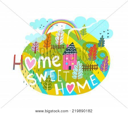 Cartoon quote  lettering home sweet home, simple style.  Vector illustration.