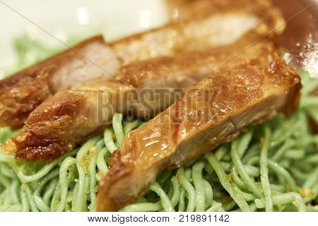 Egg Noodle With Crispy Pork , Chinese Food