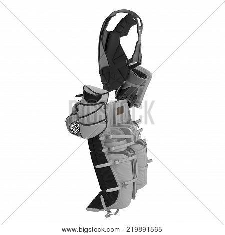 Hockey Goalie Protection Kit on white background. 3D illustration