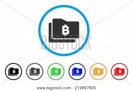 Bitcoin Purse rounded icon. Style is a flat grey symbol inside light blue circle with bonus color versions. Bitcoin Purse vector designed for web and software interfaces.