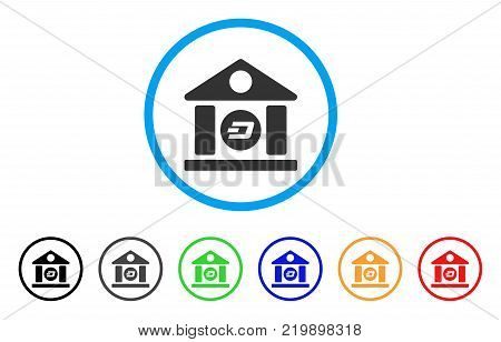 Dash Bank Building rounded icon. Style is a flat grey symbol inside light blue circle with additional color versions. Dash Bank Building vector designed for web and software interfaces.