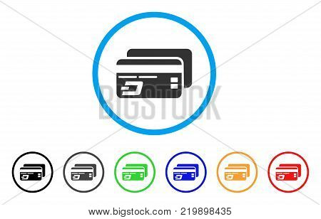 Dash Bank Cards rounded icon. Style is a flat gray symbol inside light blue circle with bonus colored versions. Dash Bank Cards vector designed for web and software interfaces.