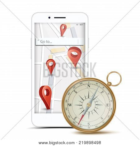 GPS App Concept Vector. Mobile Smart Phone With GPS Map And Navigation Map Compass. PCs Navigation System. Red Pointer. Isolated Illustration