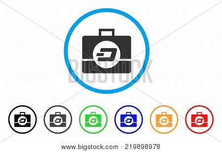 Dash Business Case rounded icon. Style is a flat grey symbol inside light blue circle with bonus color variants. Dash Business Case vector designed for web and software interfaces.